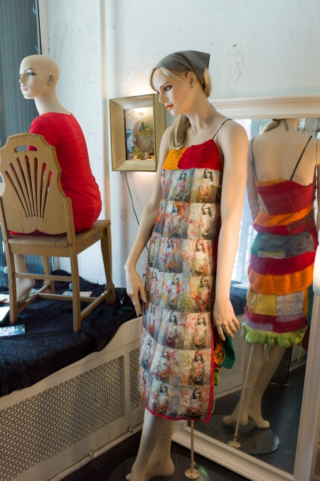 dress made of hand embroiderd photographs and knitting